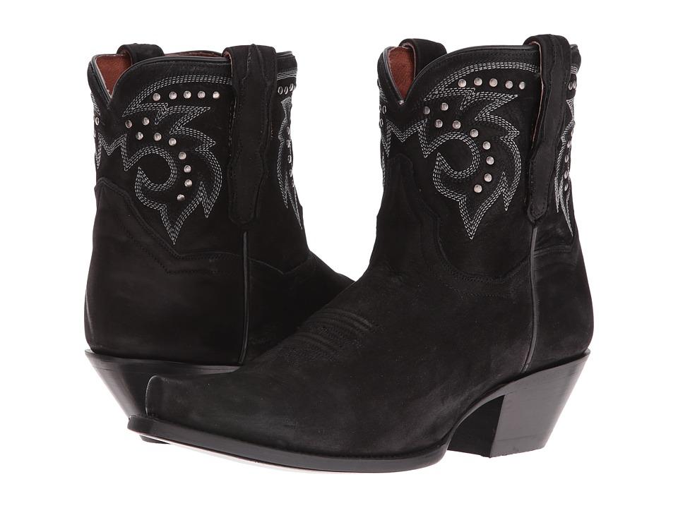 Dan Post Flat Iron Studs (Black Suede Snip Toe) Cowboy Boots
