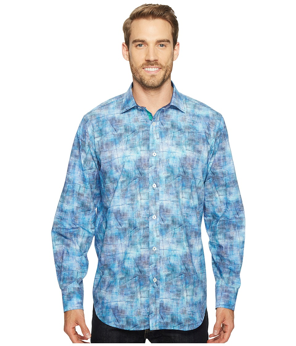 BUGATCHI - Long Sleeve Classic Fit Point Collar Shirt (Classic Blue) Men's Long Sleeve Button Up