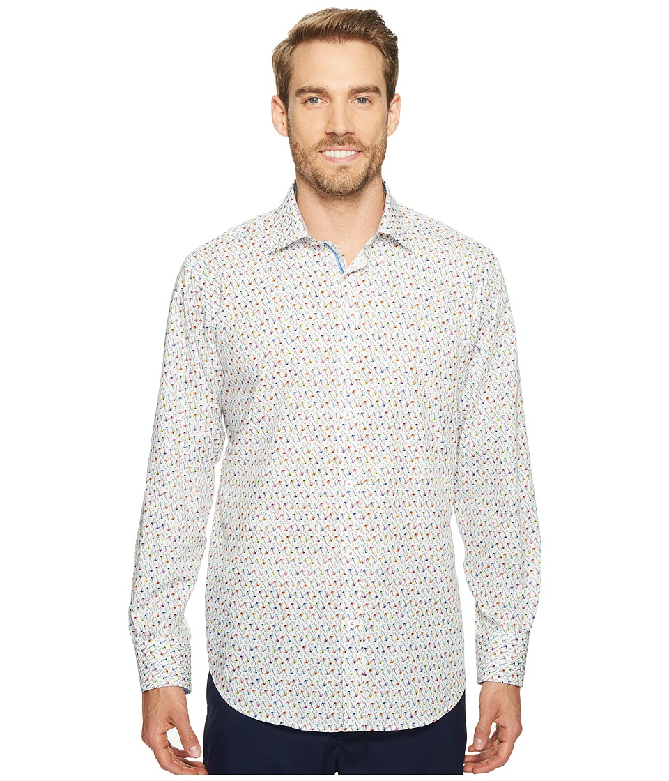BUGATCHI - Long Sleeve Classic Fit Point Collar Shirt (Paradise) Men's Long Sleeve Button Up