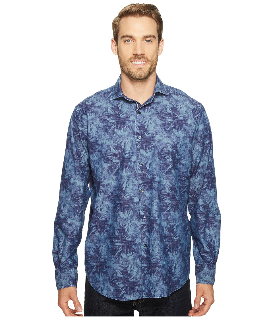 BUGATCHI - Long Sleeve Classic Fit Spread Collar Shirt (Navy) Men's Long Sleeve Button Up