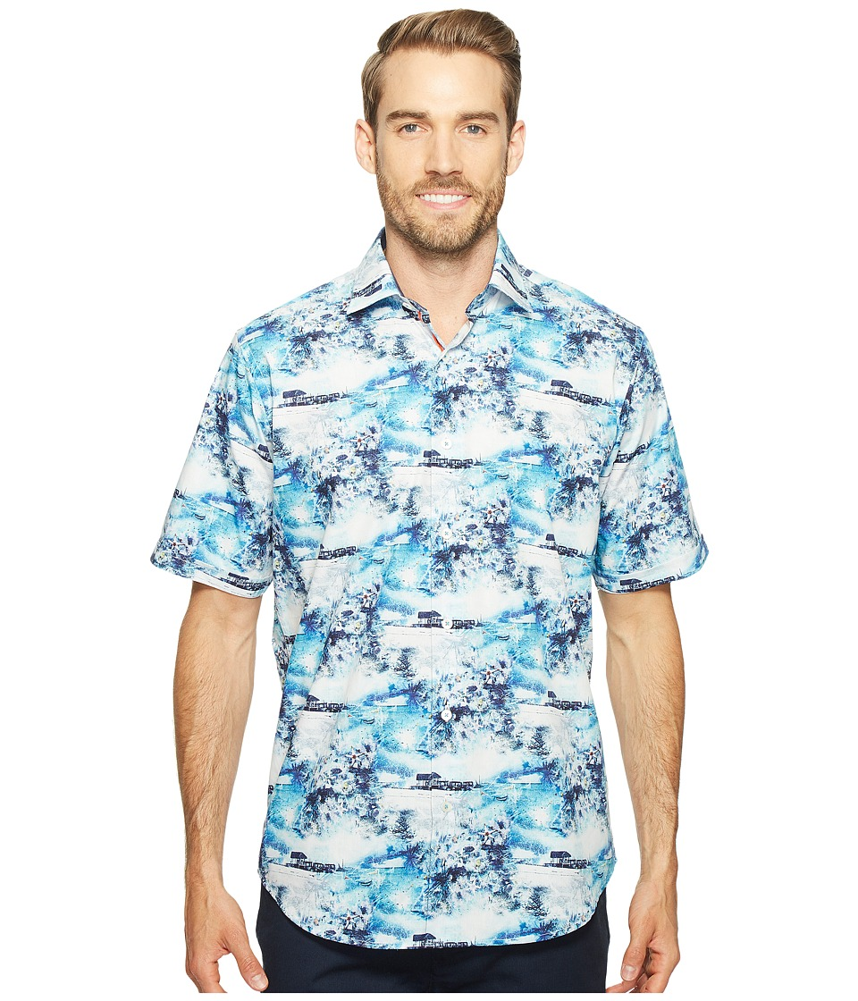 BUGATCHI - Short Sleeve Classic Fit Point Collar Shirt (Turquoise) Men's Short Sleeve Button Up