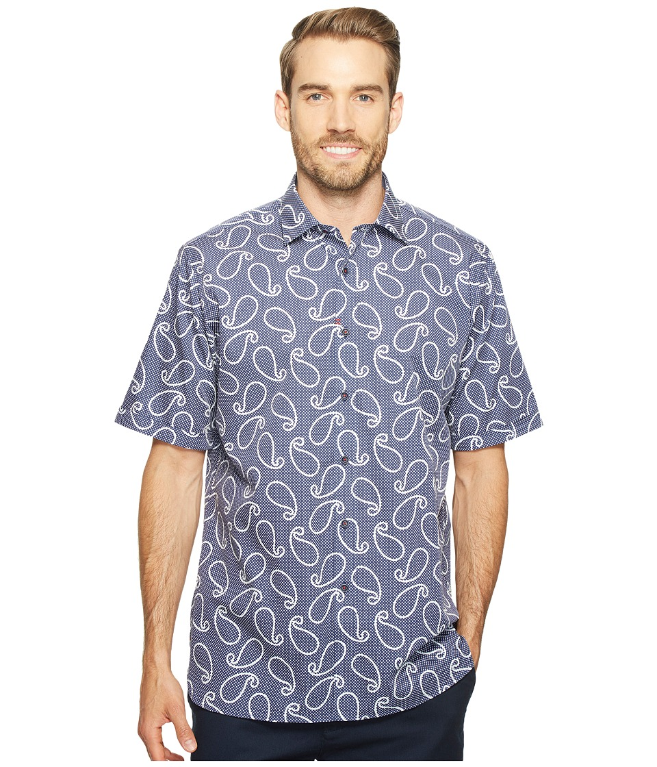 BUGATCHI - Short Sleeve Classic Fit Point Collar Shirt (Navy) Men's Short Sleeve Button Up