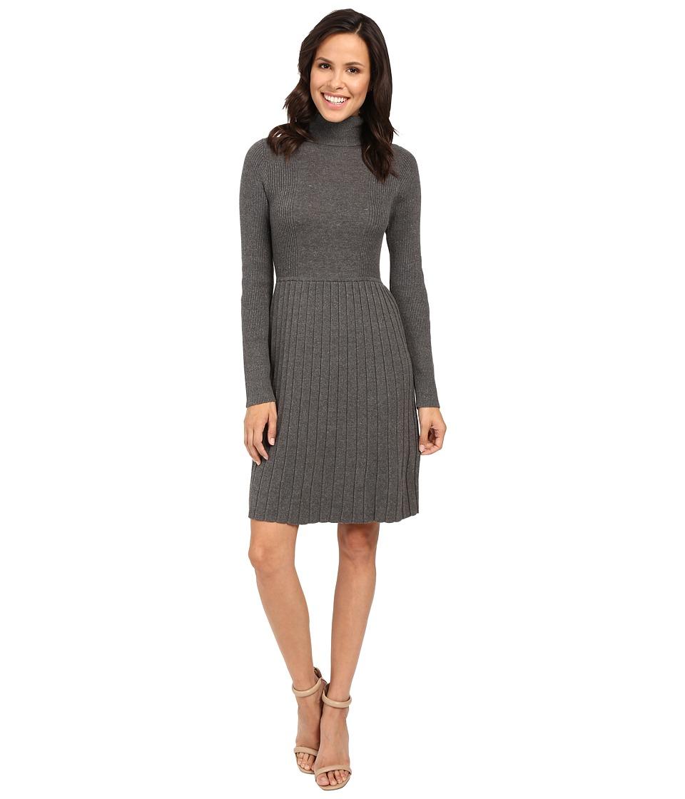 Adrianna Papell - Turtleneck Long Sleeve Solid Pleat Dress (Grey) Women's Dress