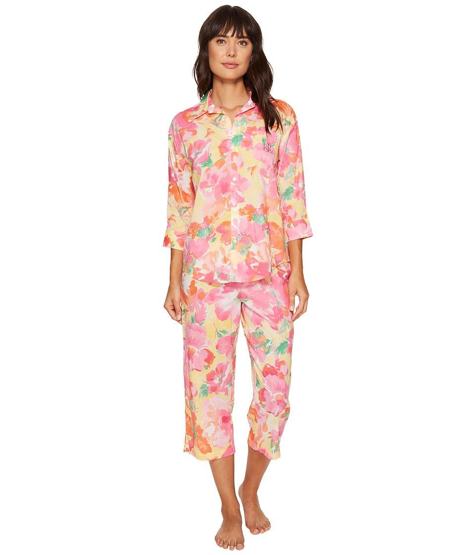 LAUREN Ralph Lauren - Cotton Rayon Lawn 3/4 Sleeve Capri PJ (Yellow Ground Floral) Women's Pajama Sets