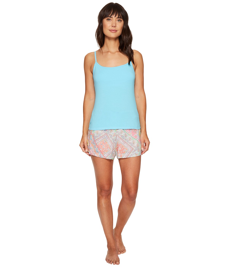 LAUREN Ralph Lauren - Shelf Bra Cami Woven Boxer PJ Set (Turquoise Top/Patchwork Paisley Shorts) Women's Pajama Sets