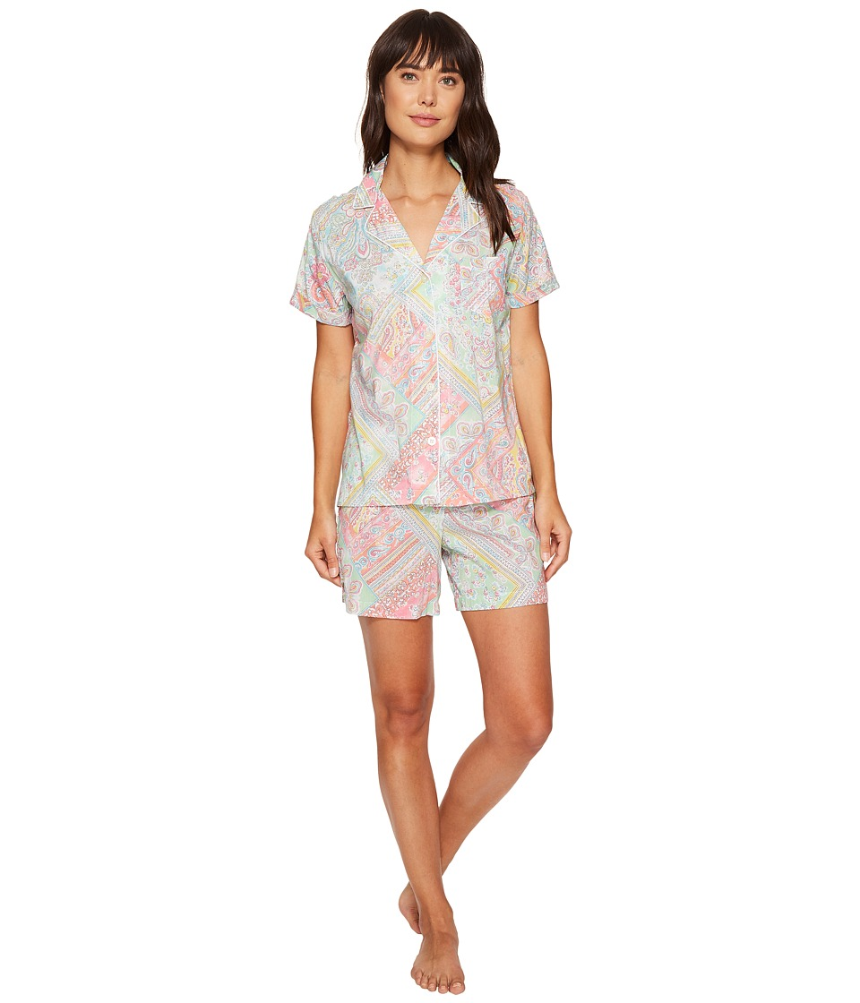 LAUREN Ralph Lauren - Short Sleeve Notch Collar Boxer PJ (Patchwork Paisley) Women's Pajama Sets