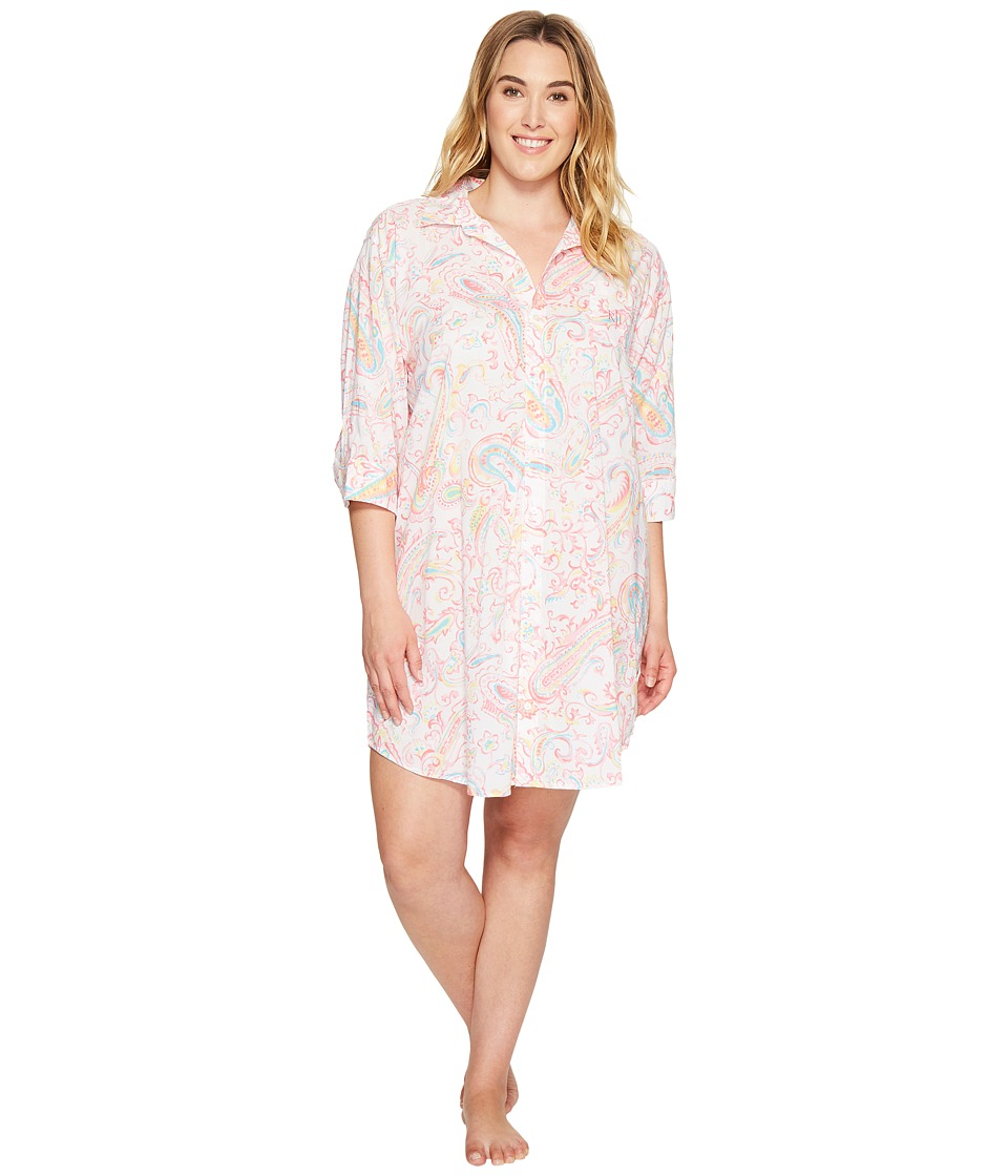 LAUREN Ralph Lauren - Plus Size 3/4 Sleeve Sleepshirt (Watercolor Paisley) Women's Pajama