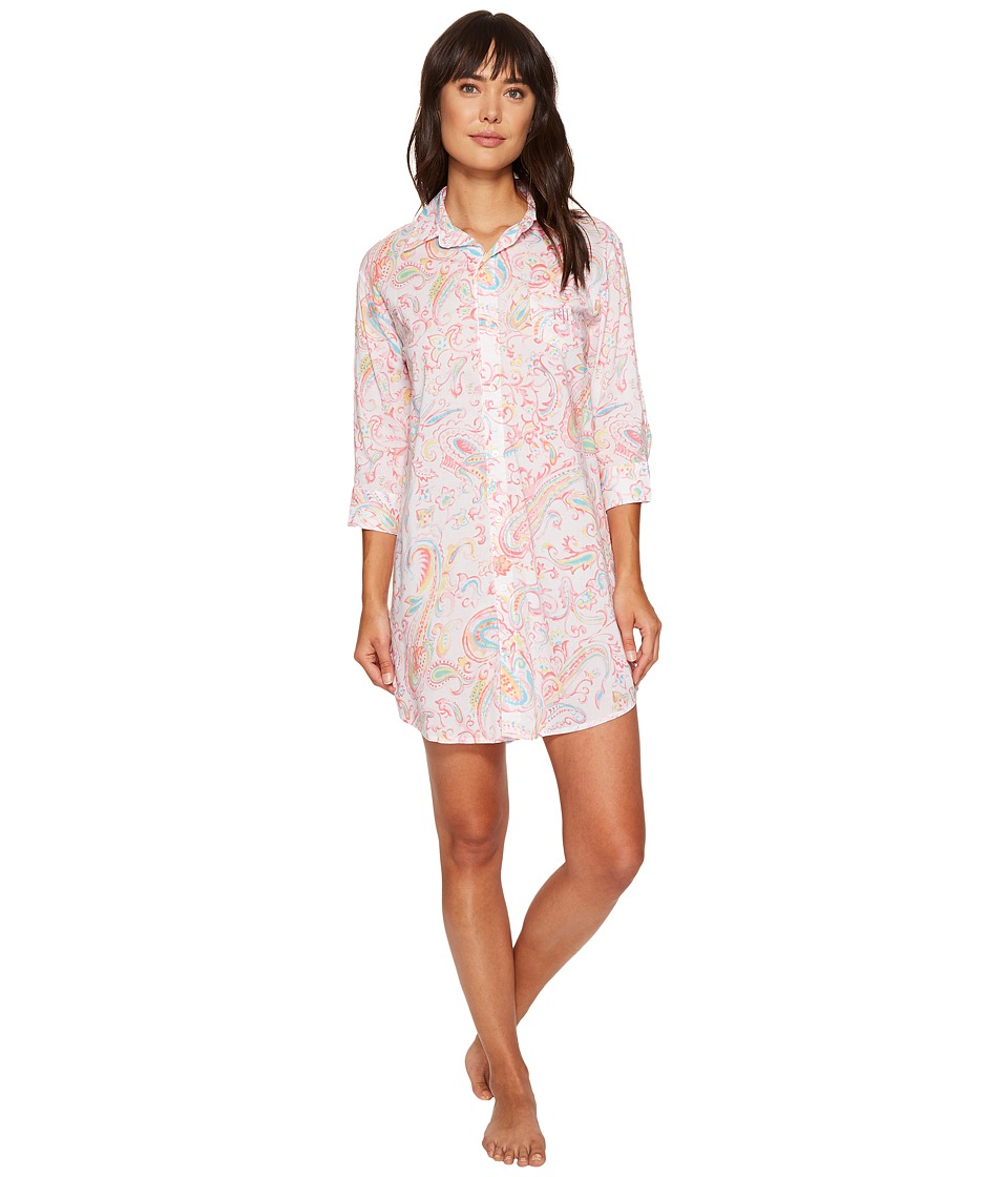 LAUREN Ralph Lauren - 3/4 Sleeve Sleepshirt (Watercolor Paisley) Women's Pajama