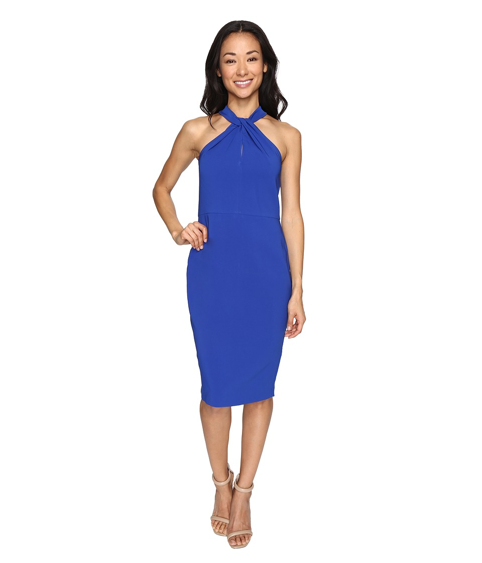 Christin Michaels Amal Crepe Halter Dress (Royal) Women