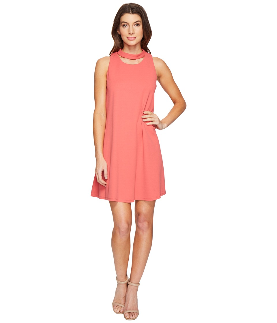 Christin Michaels Harlyn Sleeveless Dress with Neckline Detail (Coral) Women