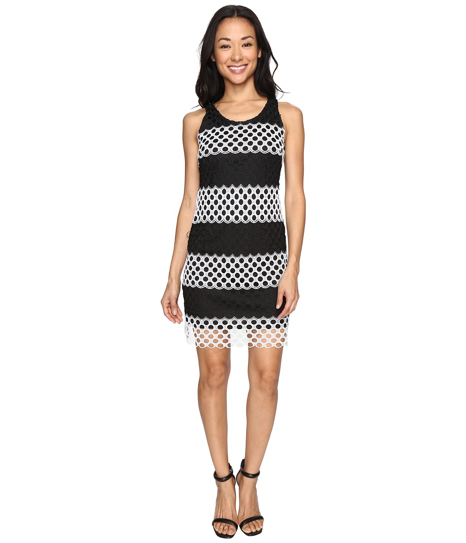 Christin Michaels - Cady Sleeveless Burnout Lace Dress (Black/White) Women's Dress