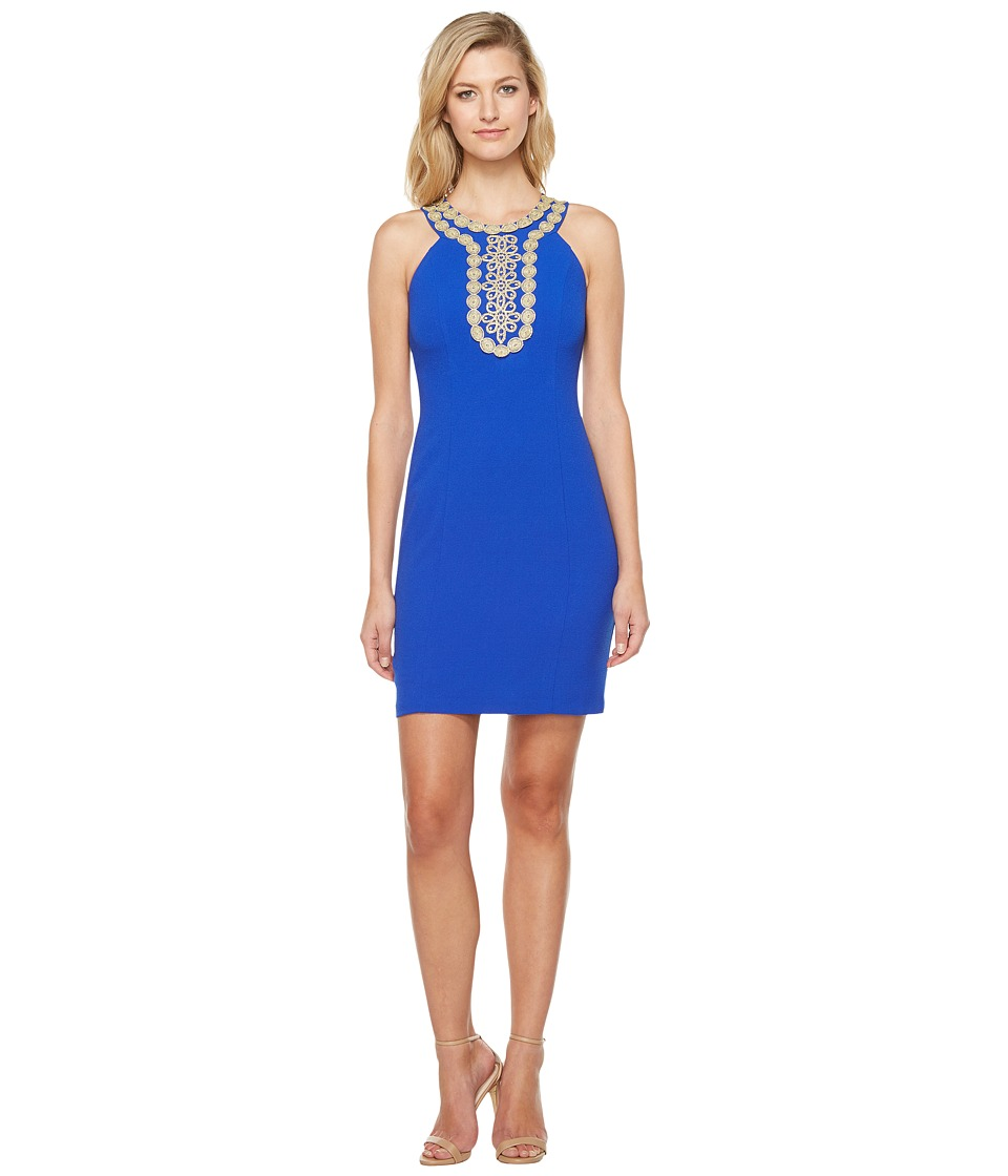 Christin Michaels Chiari Halter Dress with Embroidered Detail (Royal) Women