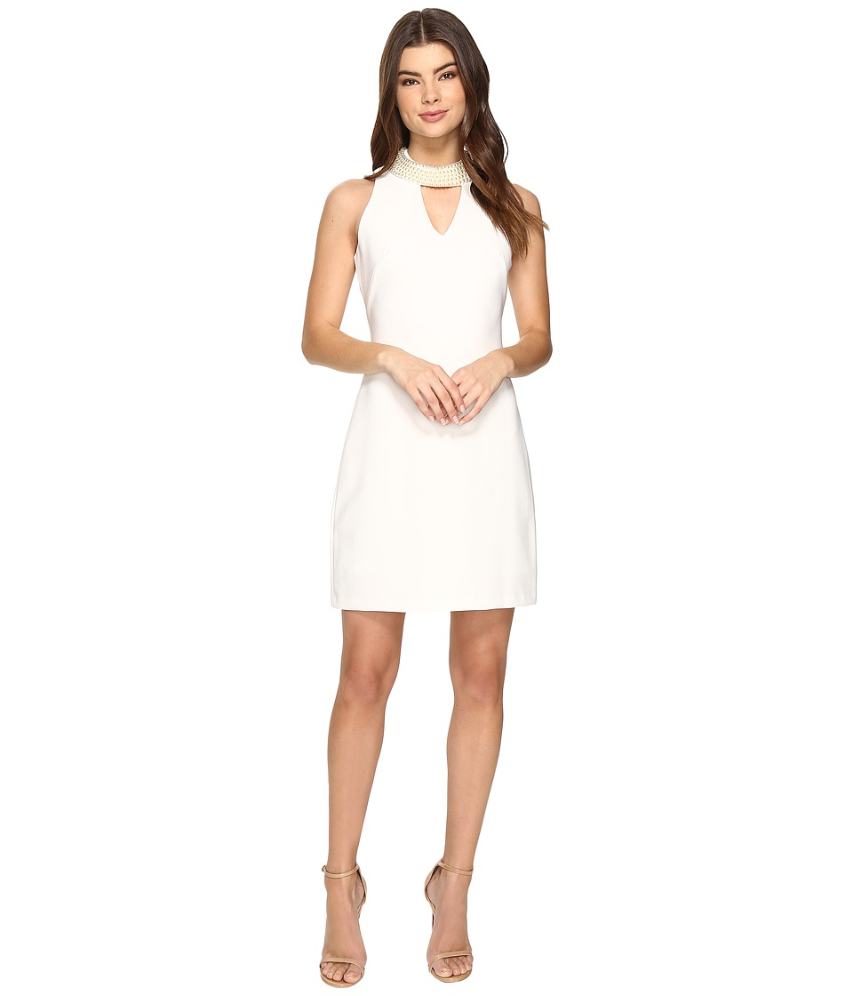 Christin Michaels Britta Sleeveless Keyhole Dress with Pearl Neckline (Ivory) Women