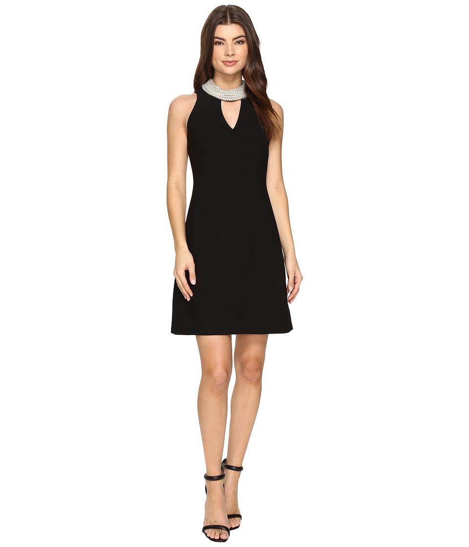 Christin Michaels Britta Sleeveless Keyhole Dress with Pearl Neckline (Black) Women