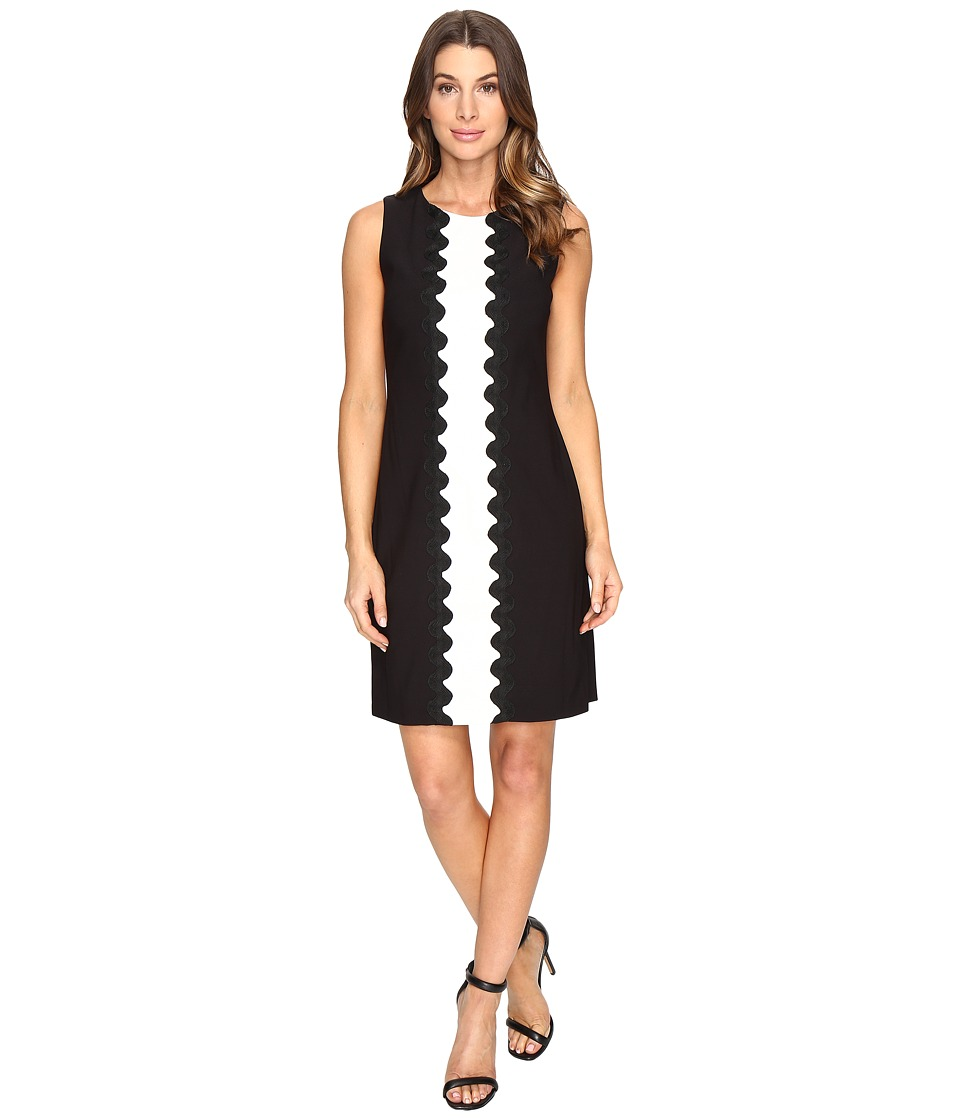 Christin Michaels - Amalia Sleeveless Crepe Dress (Black/White) Women's Dress