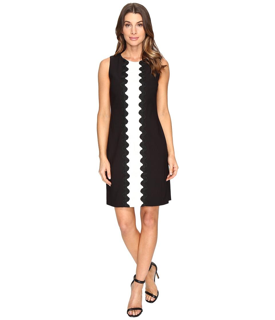 Christin Michaels Amalia Sleeveless Crepe Dress (Black/White) Women