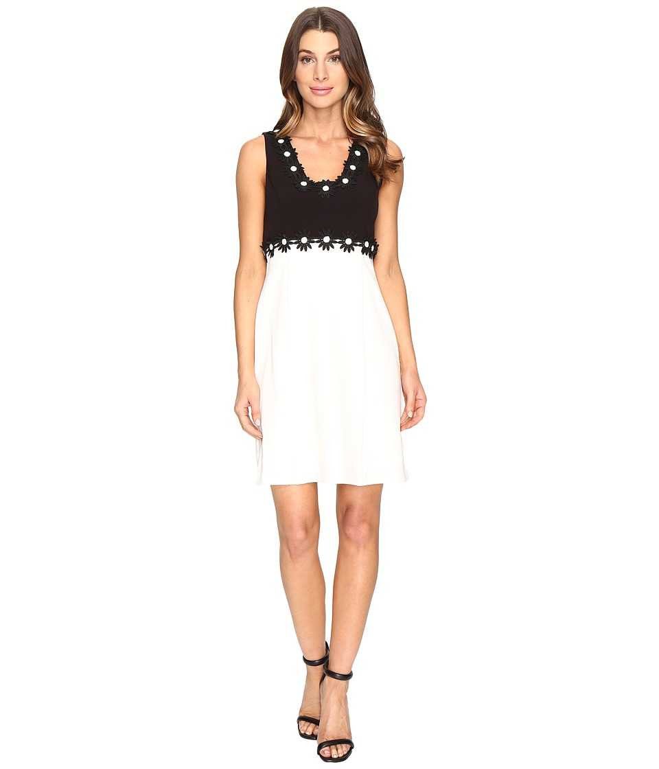 Christin Michaels - Aviana Sleeveless Dress with Flower Detail (Black/Cream) Women's Dress