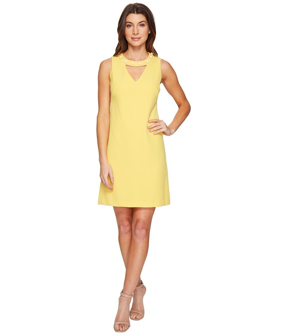 Christin Michaels Gisela Sleeveless Keyhole Dress with Pearl Detail (Mustard) Women