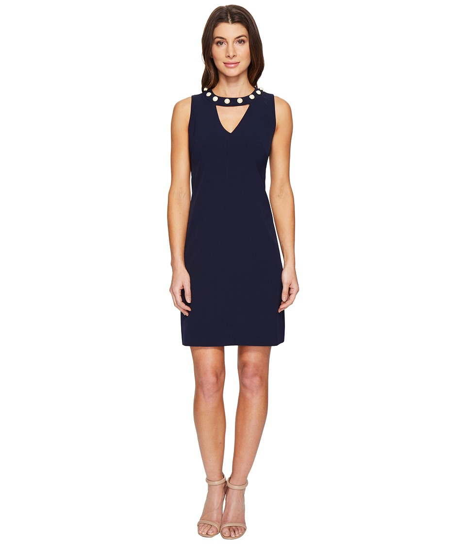 Christin Michaels - Gisela Sleeveless Keyhole Dress with Pearl Detail (Navy) Women's Dress
