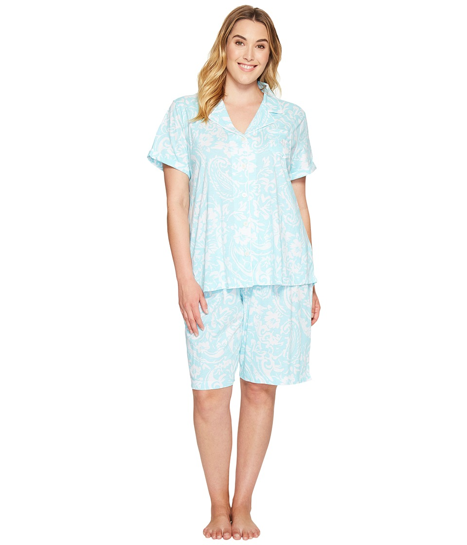 LAUREN Ralph Lauren - Plus Size Bermuda PJ Set (Turquoise Paisley) Women's Pajama Sets