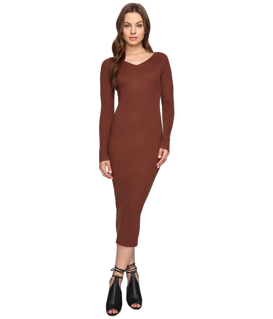 Culture Phit - Leah Long Sleeve Ribbed Midi Dress (Brown) Women's Dress