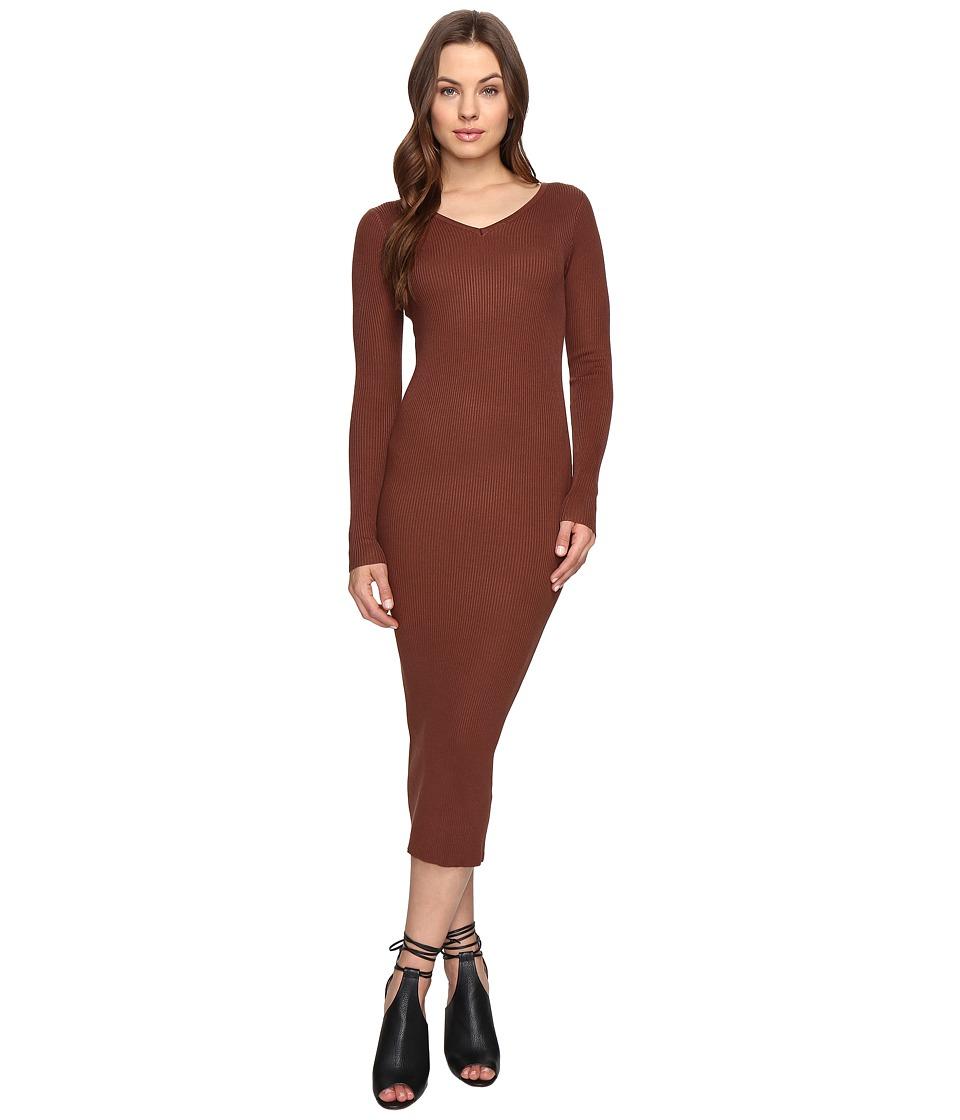 Culture Phit Leah Long Sleeve Ribbed Midi Dress (Brown) Women