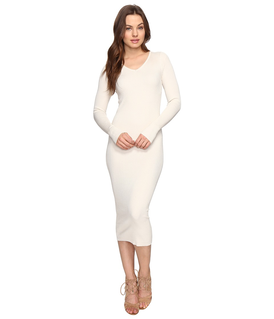 Culture Phit - Leah Long Sleeve Ribbed Midi Dress (Cream) Women's Dress
