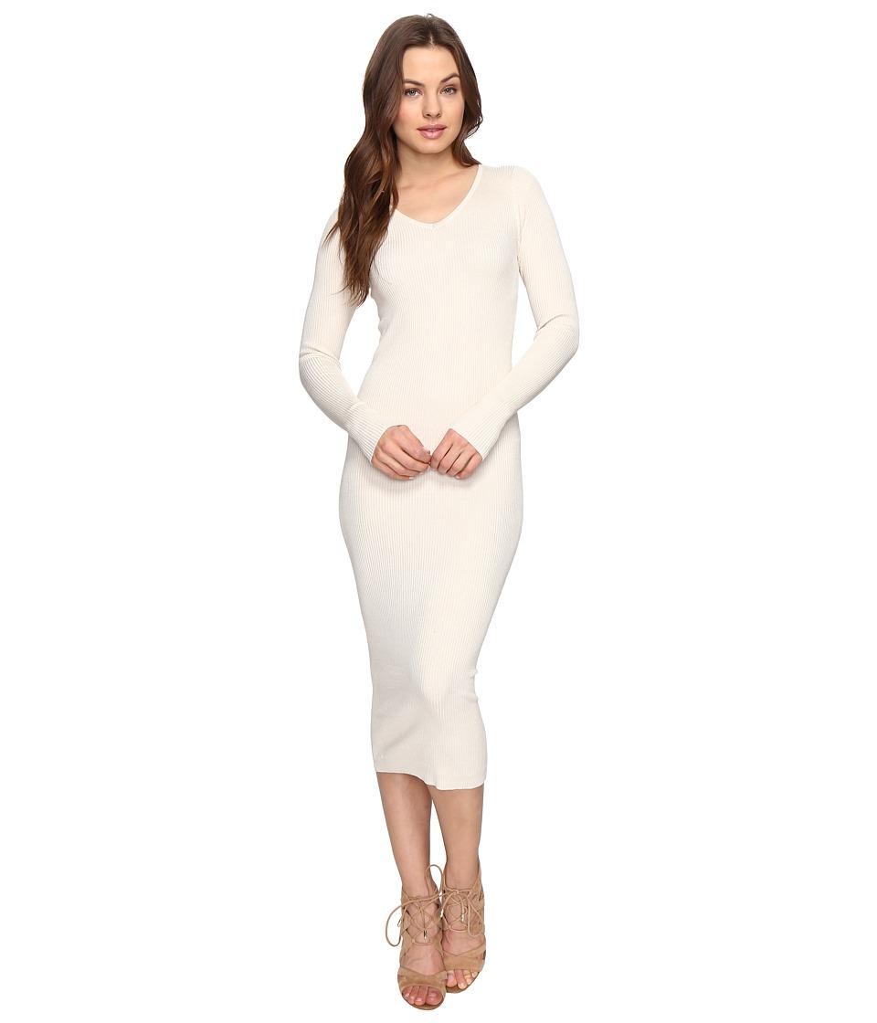 Culture Phit - Leah Long Sleeve Ribbed Midi Dress (Cream) Women's Dress