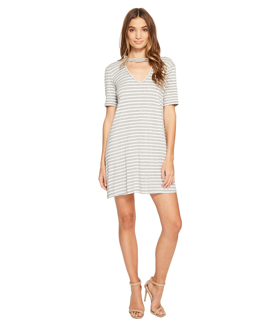 Culture Phit - Marion Striped Keyhole Dress (Heather Grey) Women's Dress