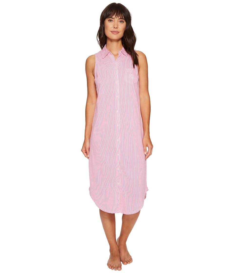 LAUREN Ralph Lauren - Sleeveless Ballet Shirt (Pink Stripe) Women's Pajama