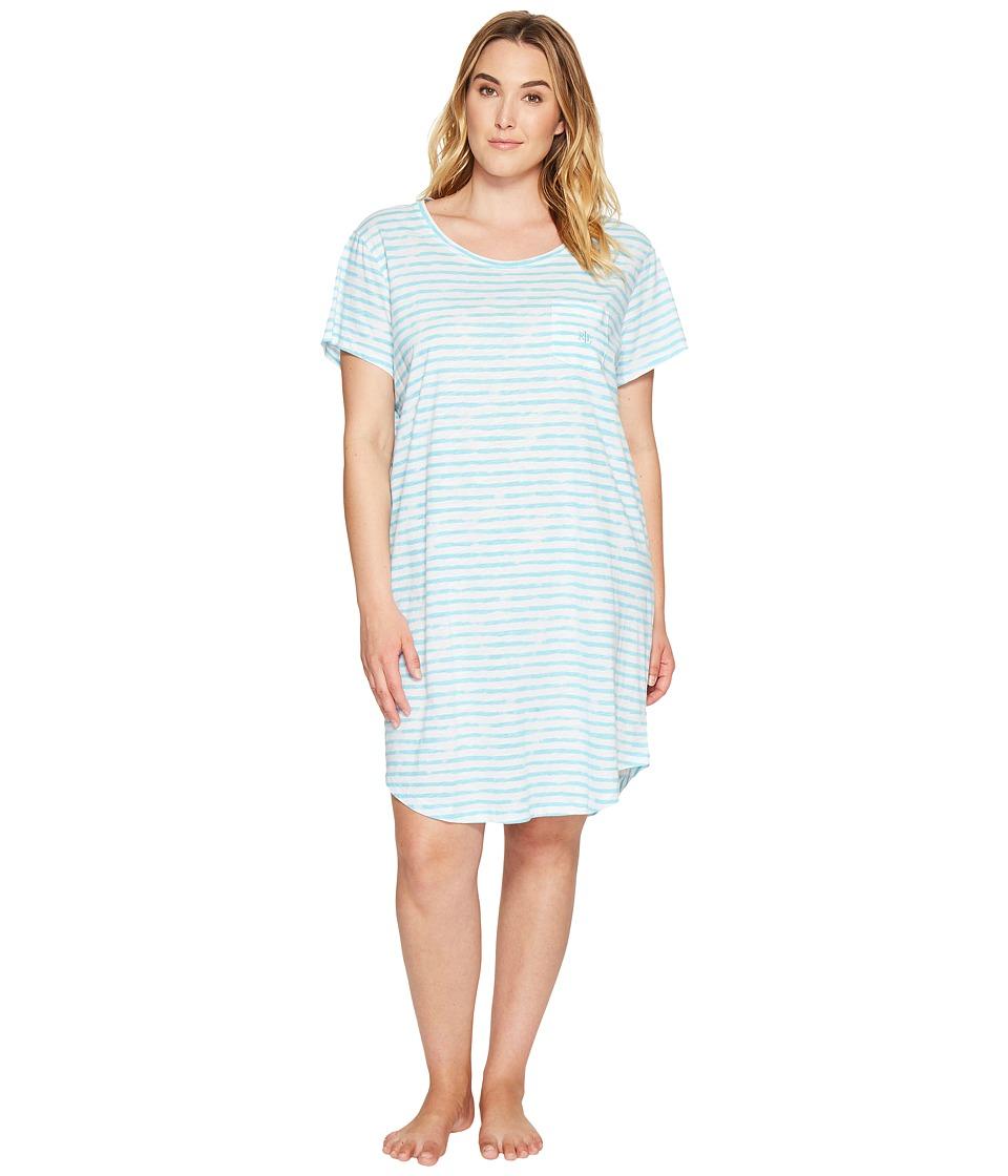 LAUREN Ralph Lauren - Plus Size Short Sleeve Sleep Tee (Turquoise Stripe) Women's Pajama