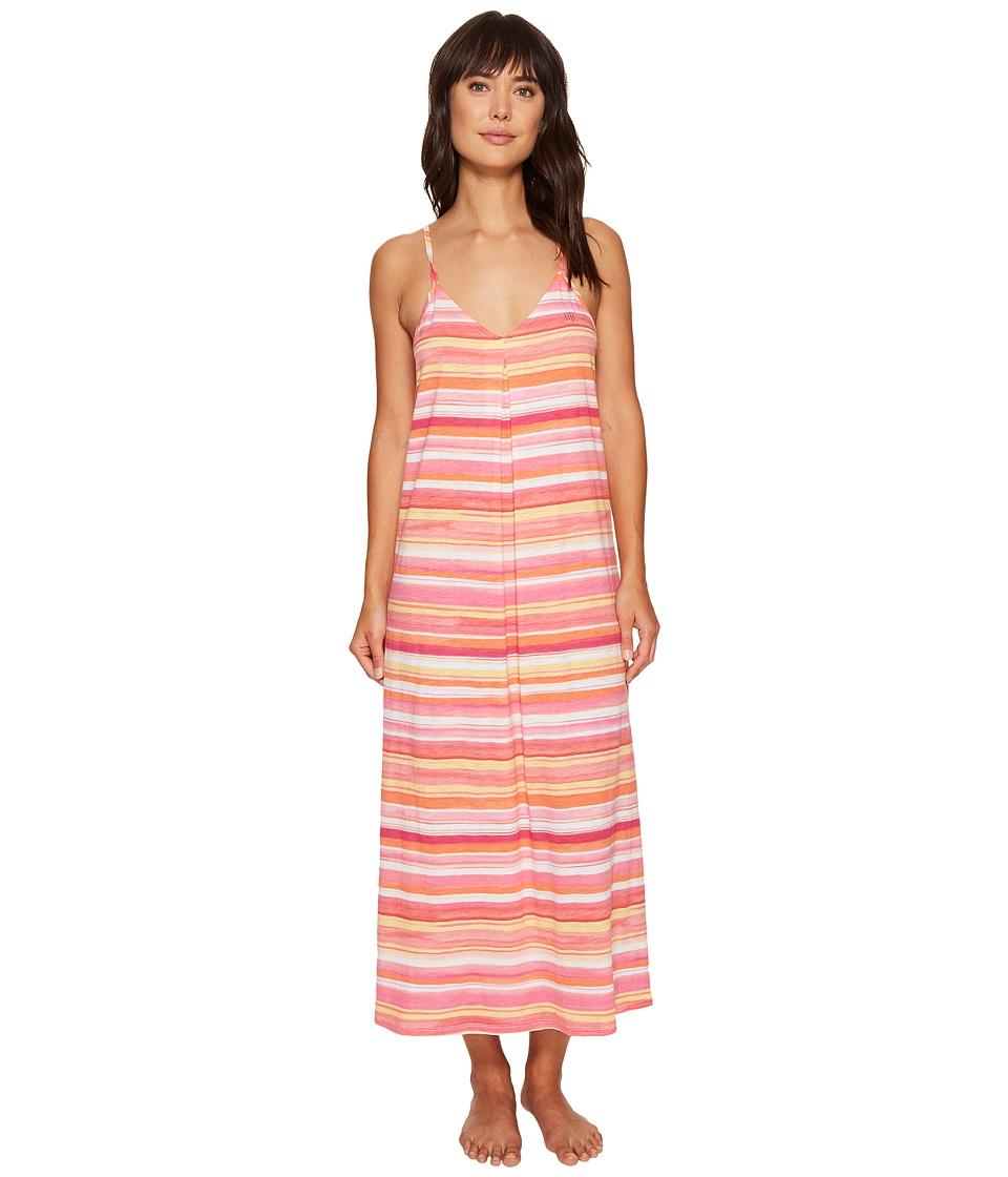 LAUREN Ralph Lauren - Striped Maxi Gown (Coral Stripe) Women's Pajama
