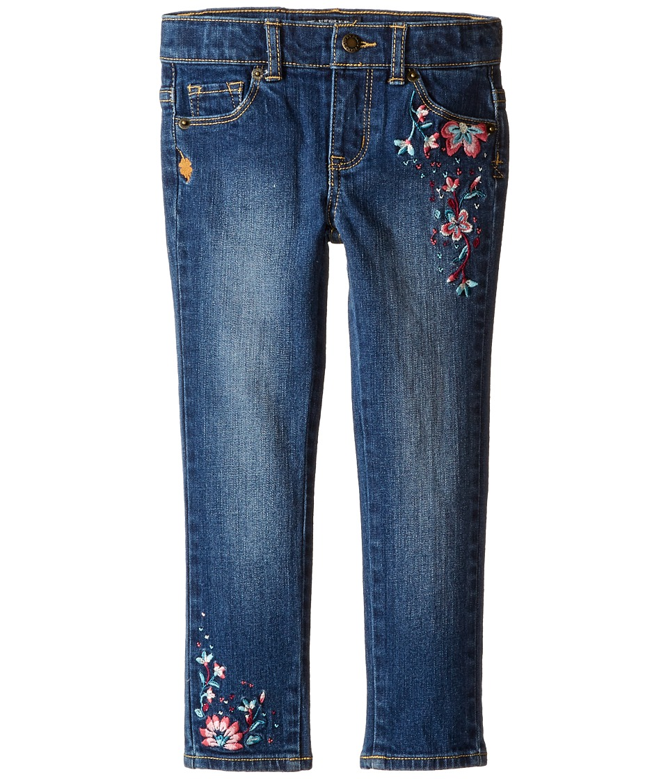 Lucky Brand Kids - Zoe Jeans with Embroidery in Blue Wash (Little Kids) (Blue Wash) Girl's Jeans