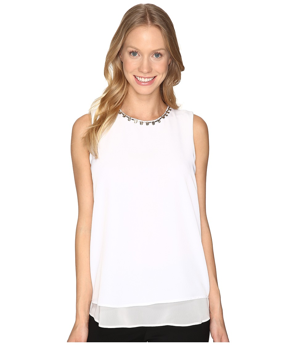 Calvin Klein Sleeveless Jewel Neck Top (Soft White) Women