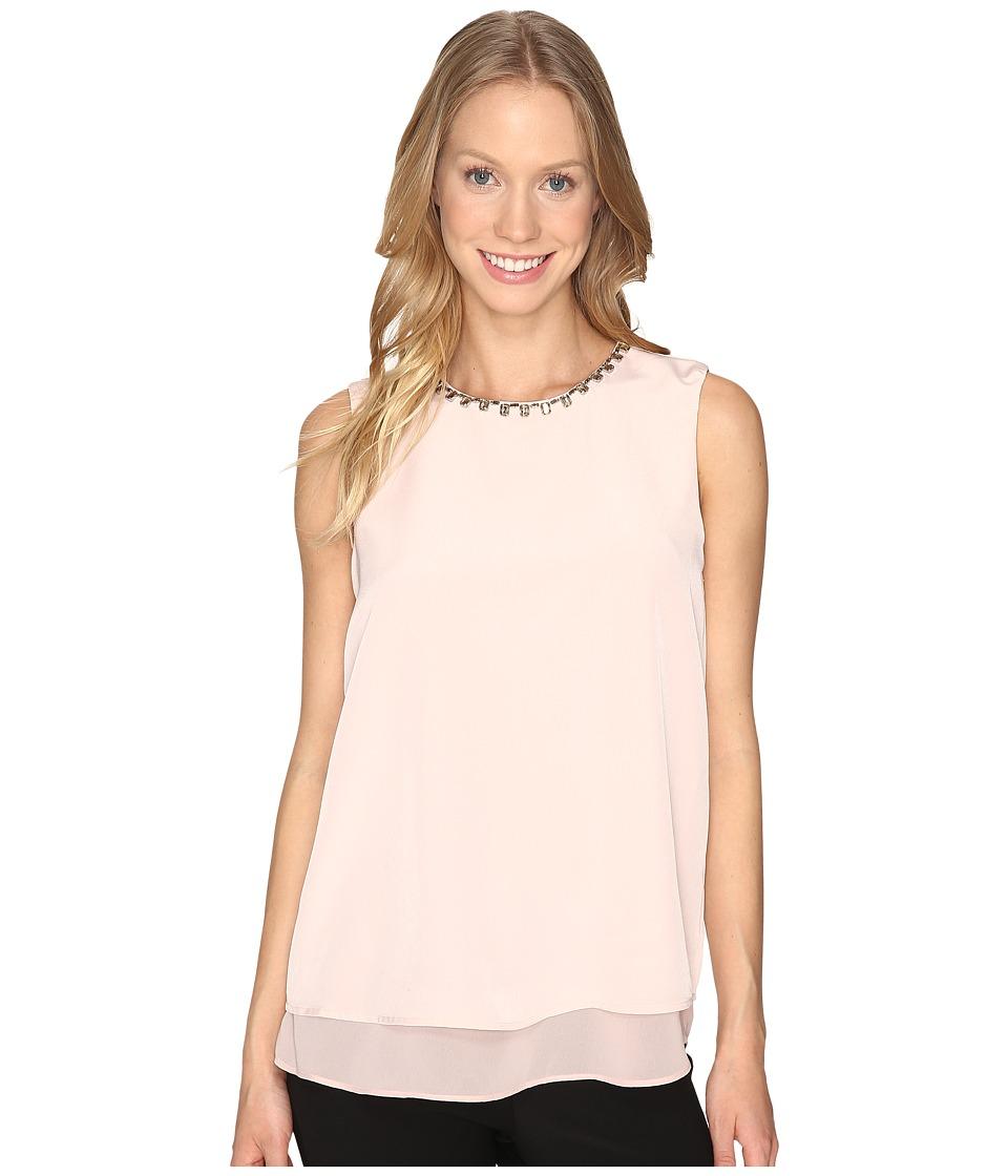 Calvin Klein Sleeveless Jewel Neck Top (Blush) Women
