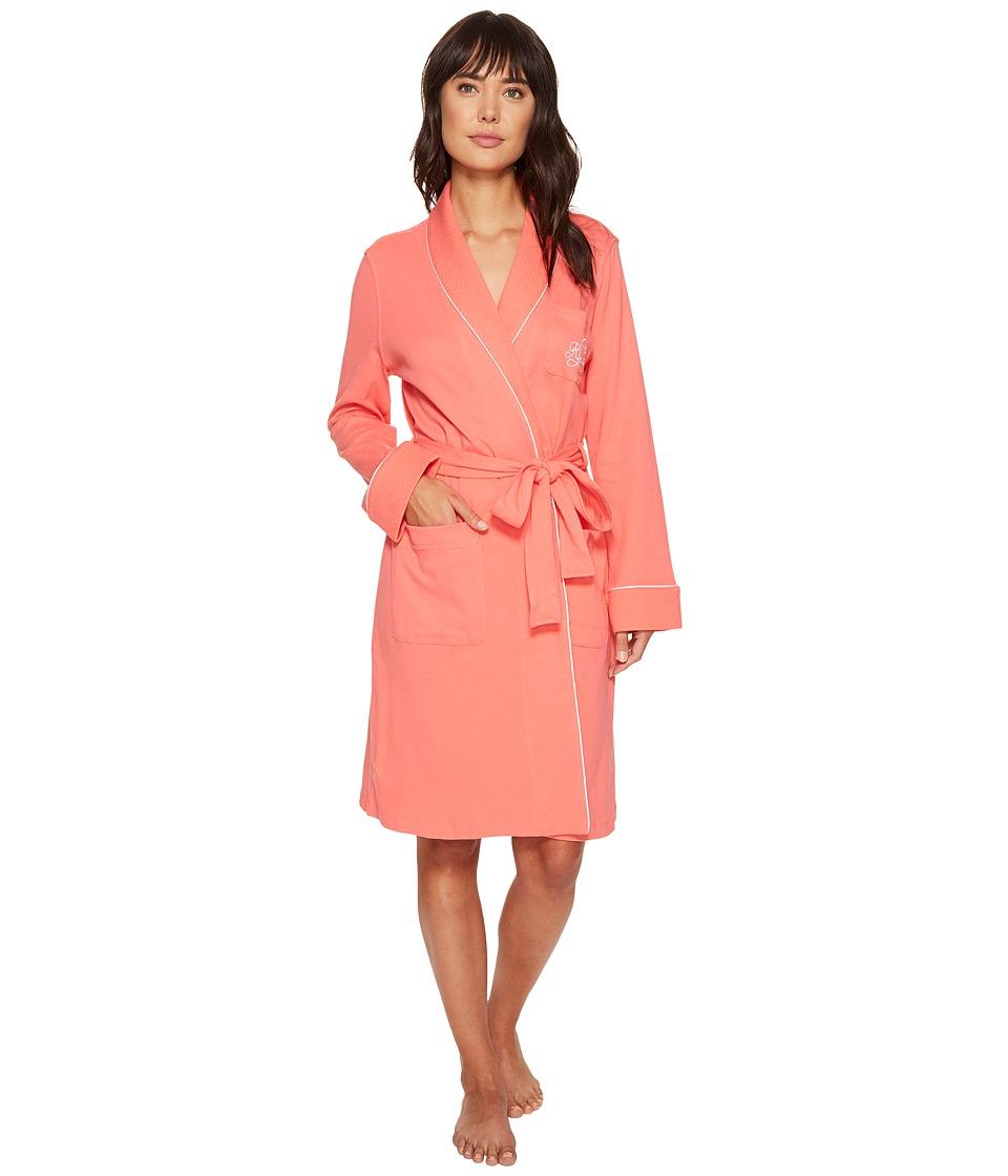 LAUREN Ralph Lauren - Essentials Quilted Collar and Cuff Robe (Coral Island) Women's Robe