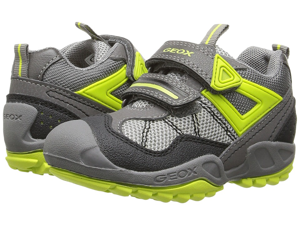 Geox Kids - Jr New Savage Boy 3 (Toddler/Little Kid) (Grey/Lime) Boy's Shoes
