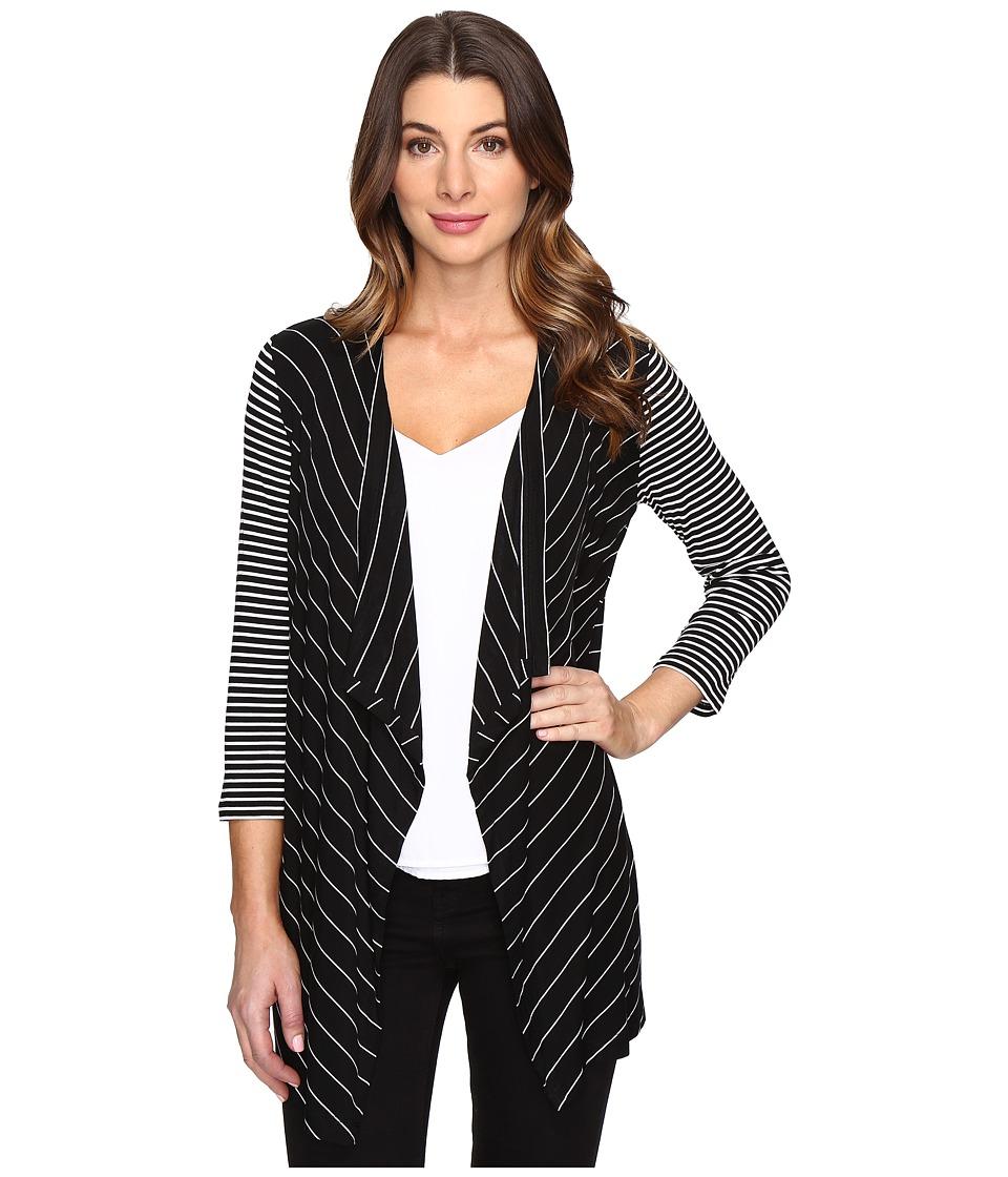 Calvin Klein - Mix Stripe Flyaway Knit Long Sleeve (Black/White) Women's Clothing