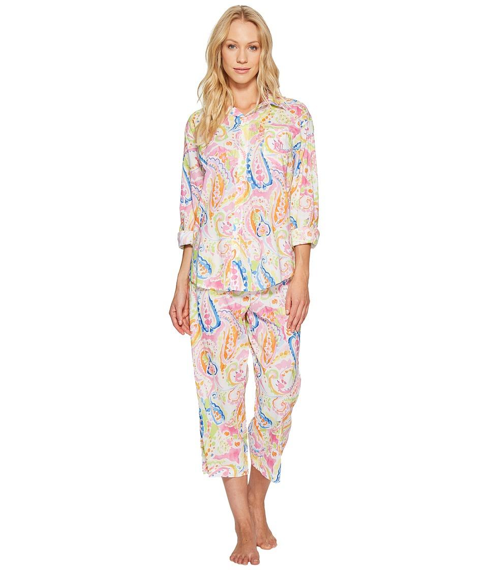 LAUREN Ralph Lauren - Cotton Rayon Lawn Capri PJ Set (Pink Paisley) Women's Pajama Sets