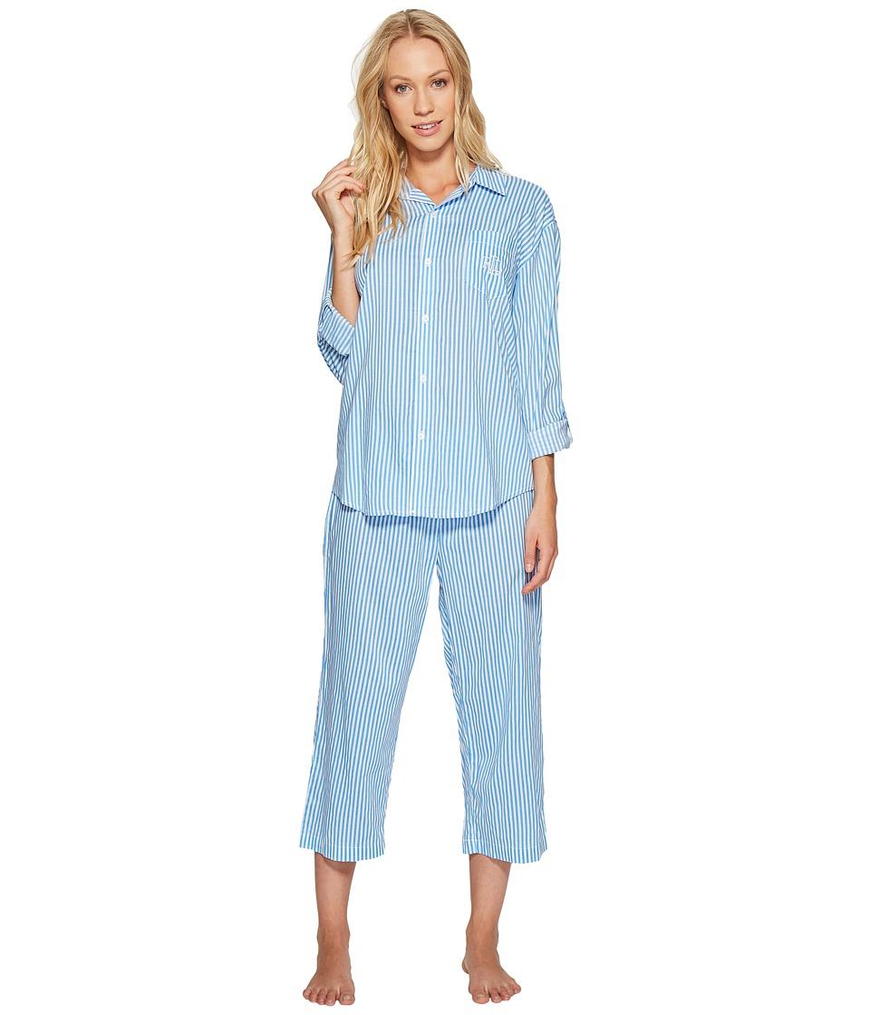 LAUREN Ralph Lauren - Cotton Rayon Lawn Capri PJ Set (Blue Stripe) Women's Pajama Sets