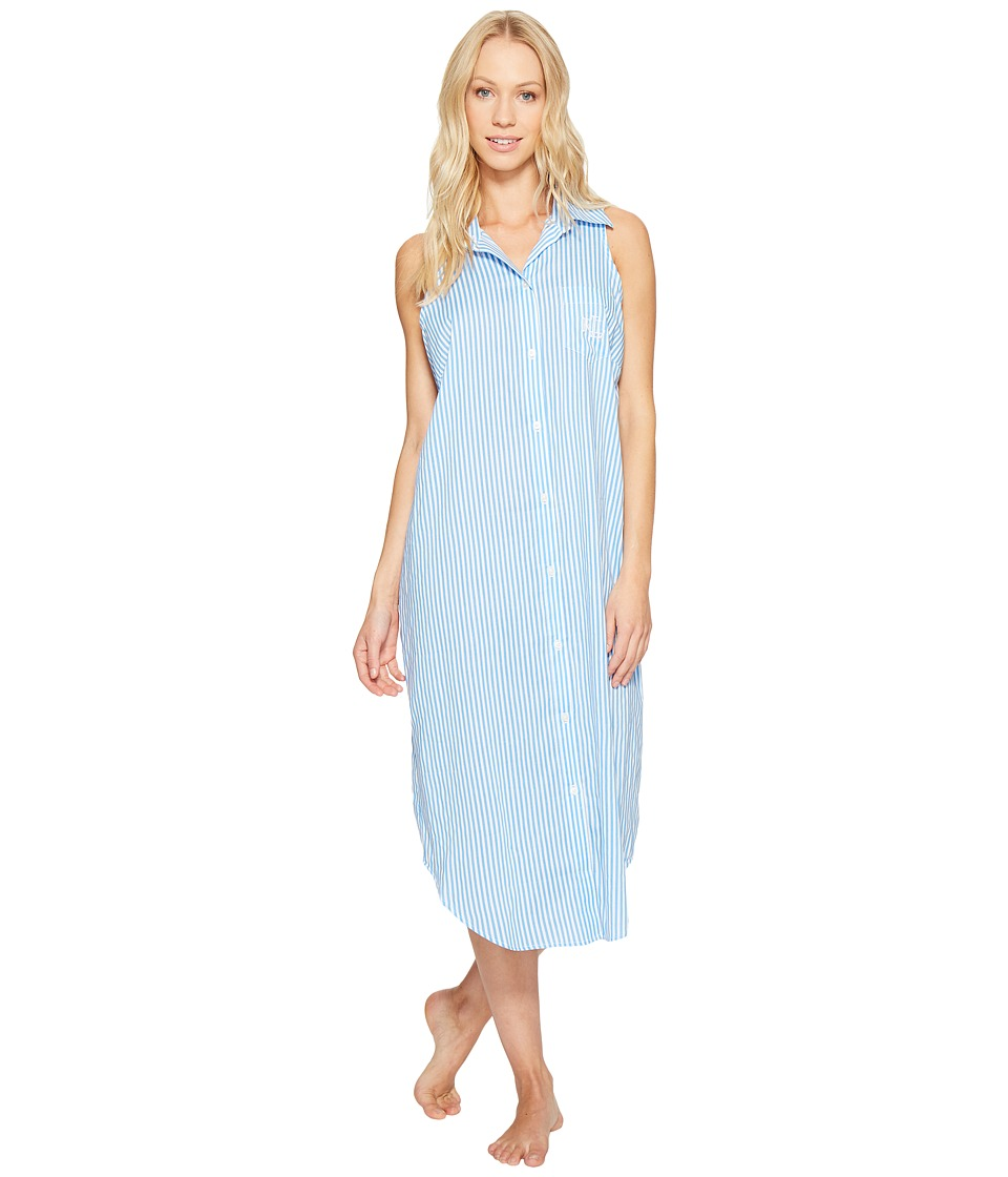 LAUREN Ralph Lauren - Cotton Rayon Lawn Sleeveless Gown (Blue Stripe) Women's Pajama