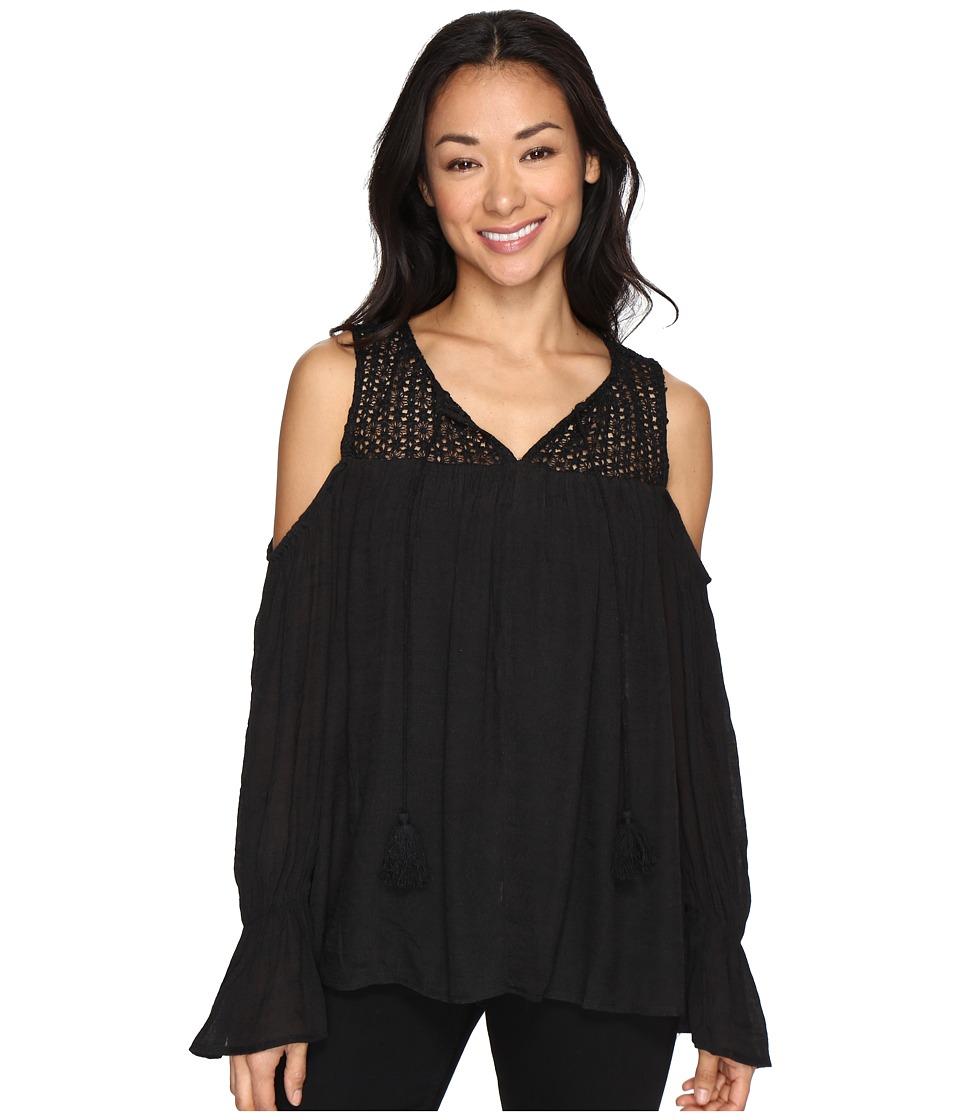 Brigitte Bailey - Sine Long Sleeve Crocheted Cold Shoulder Top (Black) Women's Clothing