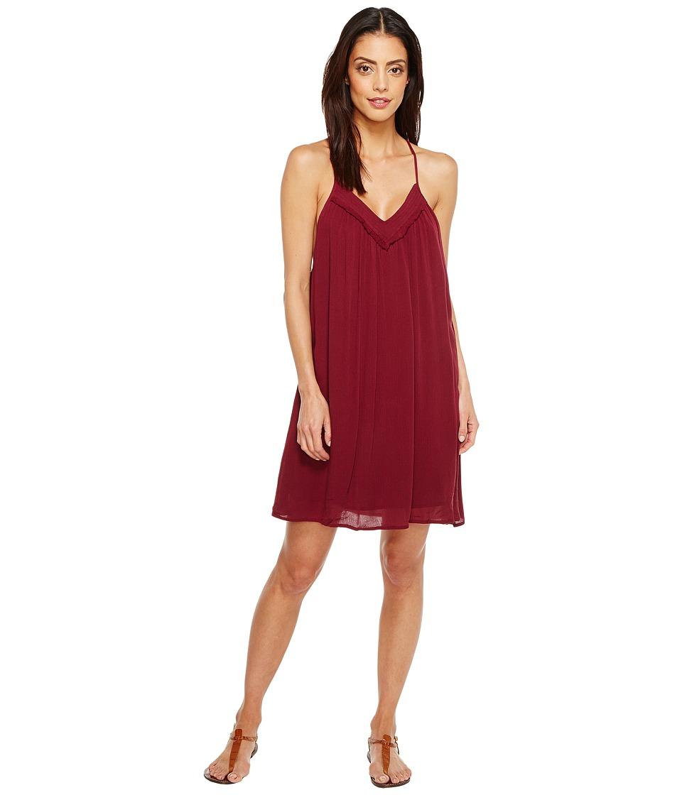 Brigitte Bailey - Ila Spaghetti Strap Dress with Crochet Detail (Maroon) Women's Dress