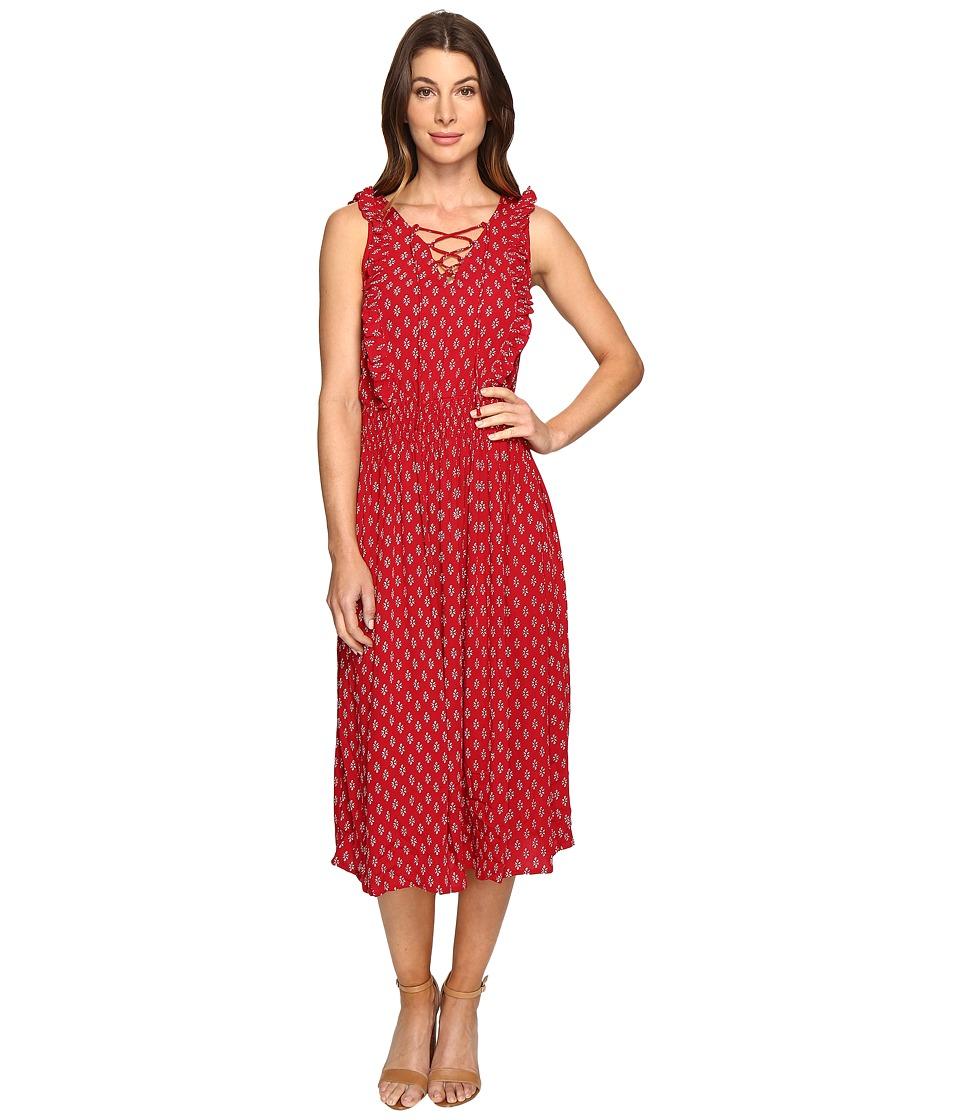 Brigitte Bailey - Odessa Tie-Front Sleeveless Dress with Ruffle (Red) Women's Dress
