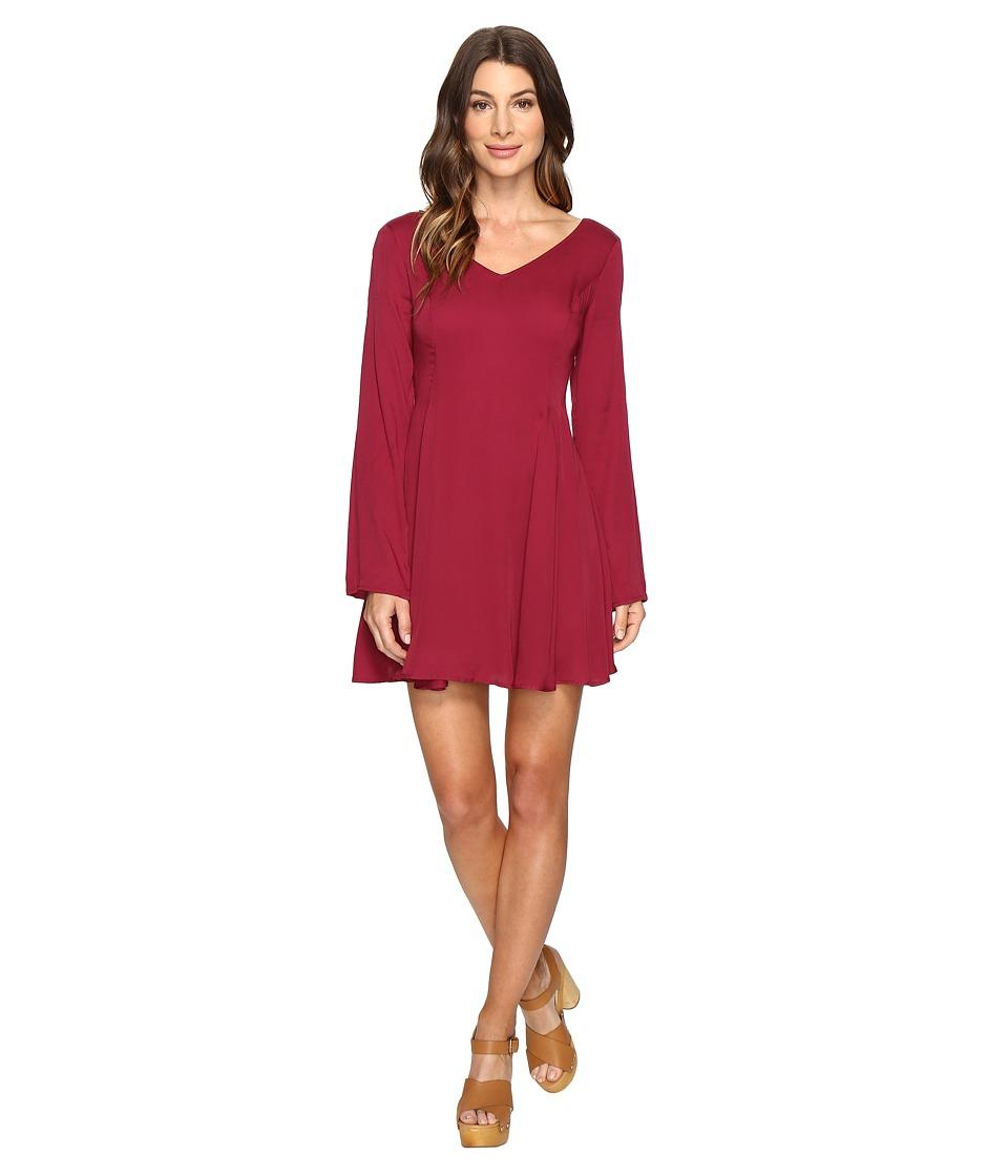 Brigitte Bailey - Gabriele Bell Sleeve Flared Dress (Wine) Women's Dress
