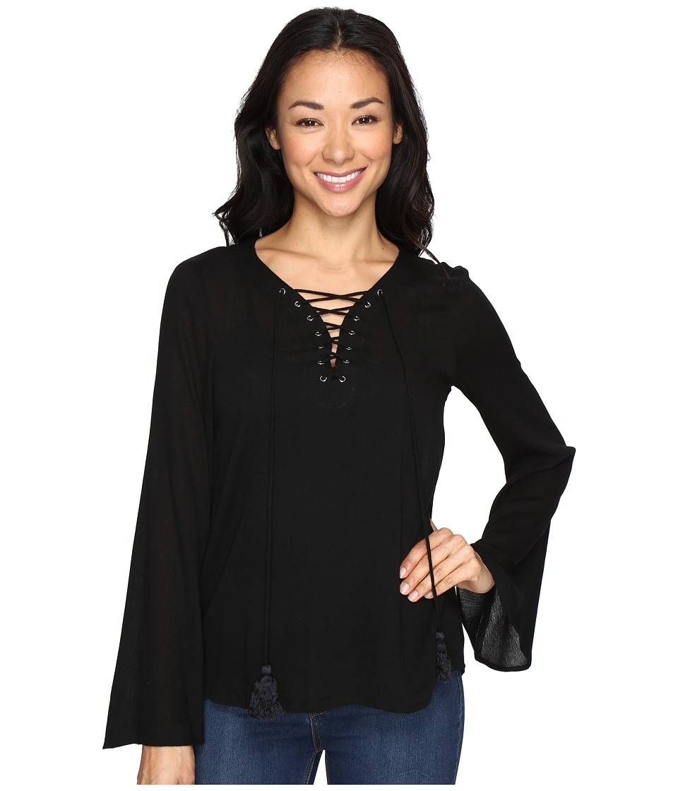 Brigitte Bailey - Rebeka Tie-Front Bell Sleeve Top (Black) Women's Clothing