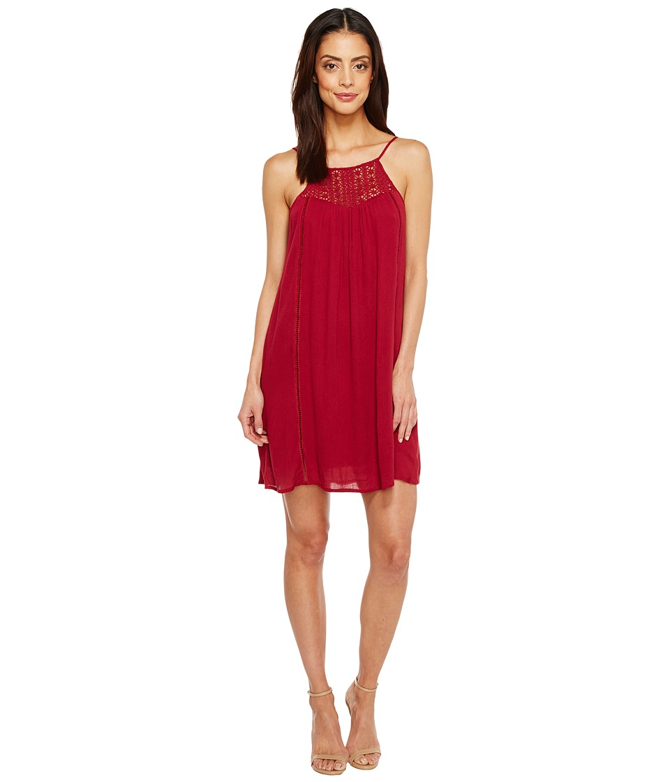 Brigitte Bailey - Janalyn Spaghetti Strap Dress with Crochet Detail (Burgundy) Women's Dress