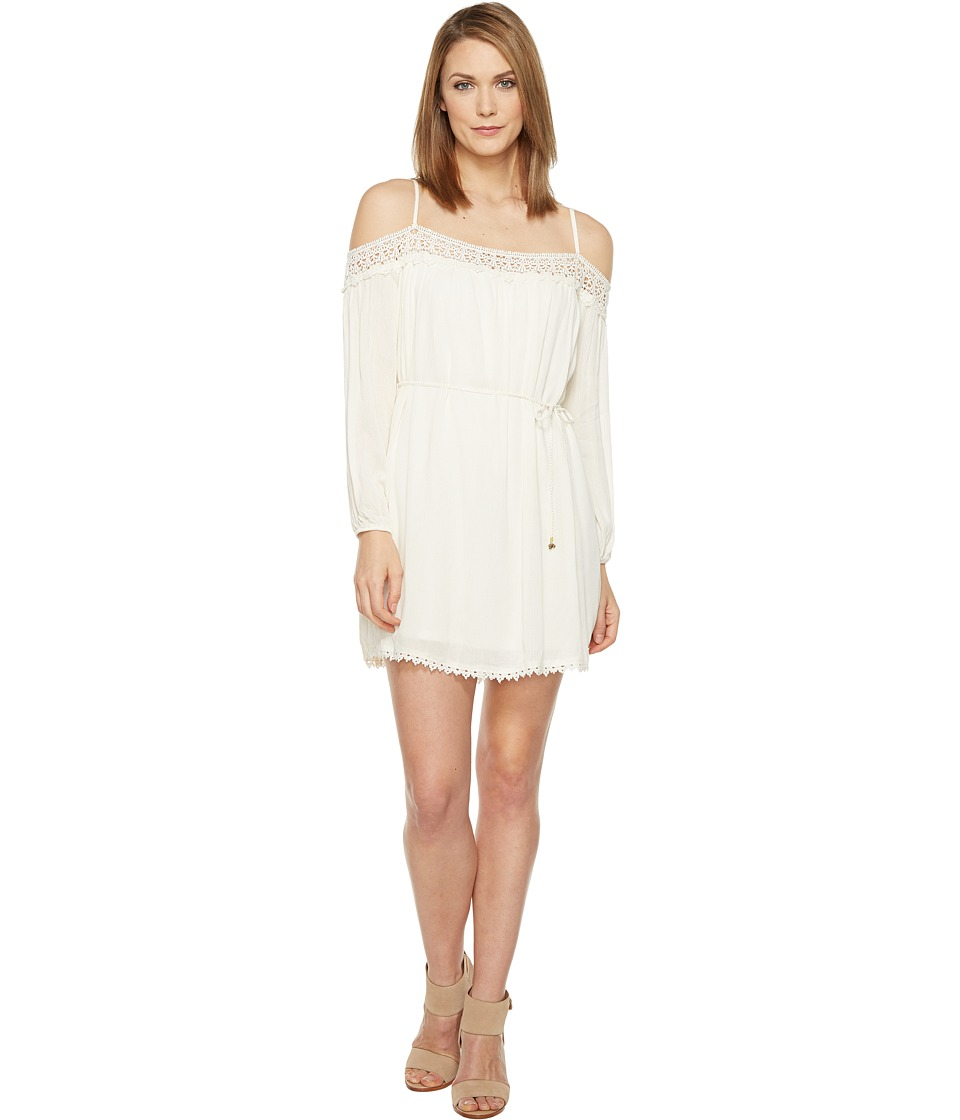 Brigitte Bailey - Elisha Off the Shoulder Dress with Crochet Detail (Off-White) Women's Dress
