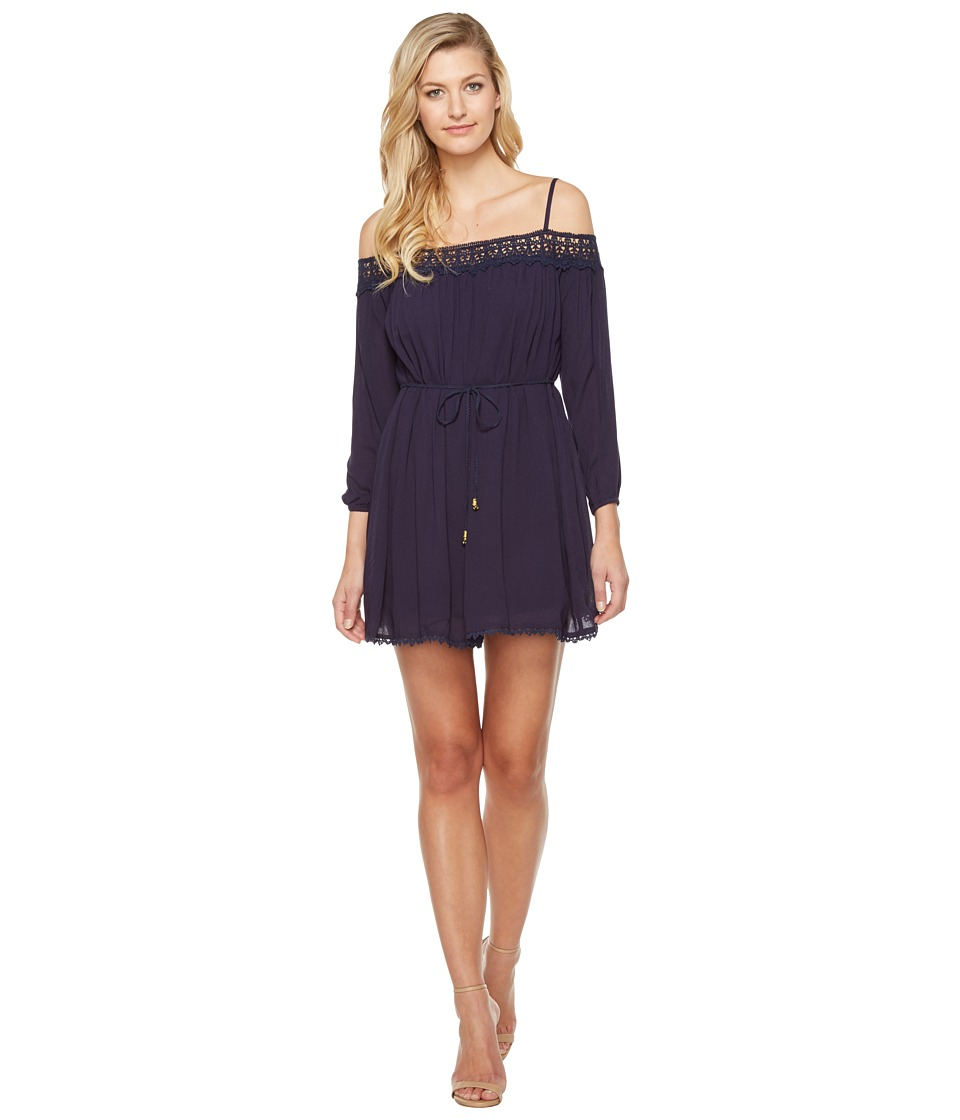 Brigitte Bailey - Elisha Off the Shoulder Dress with Crochet Detail (Navy) Women's Dress