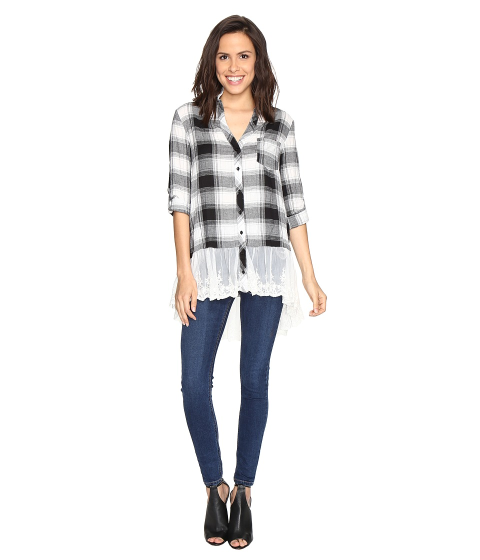 Brigitte Bailey - Maisha Plaid Top with Lace Bottom (Black/White) Women's Clothing